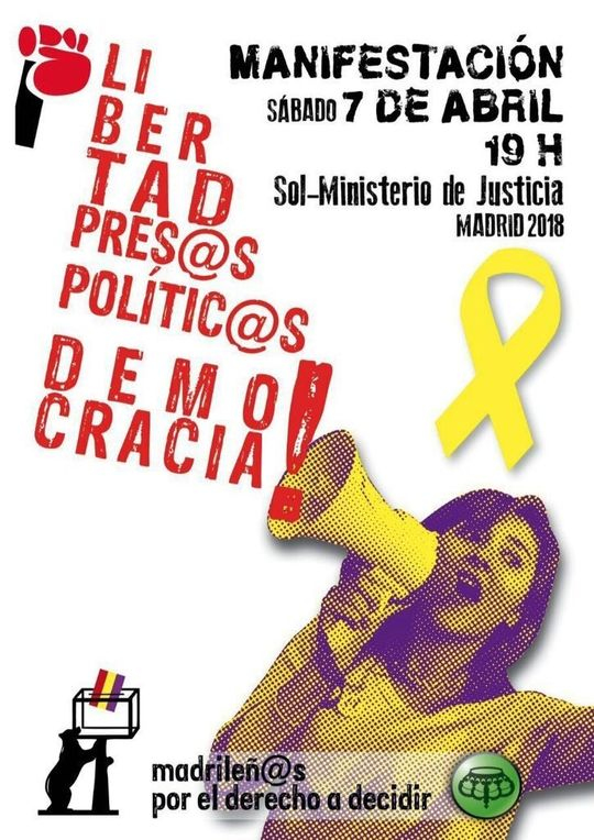 April 7 Madrid solidarity with Catalonia demonstration poster