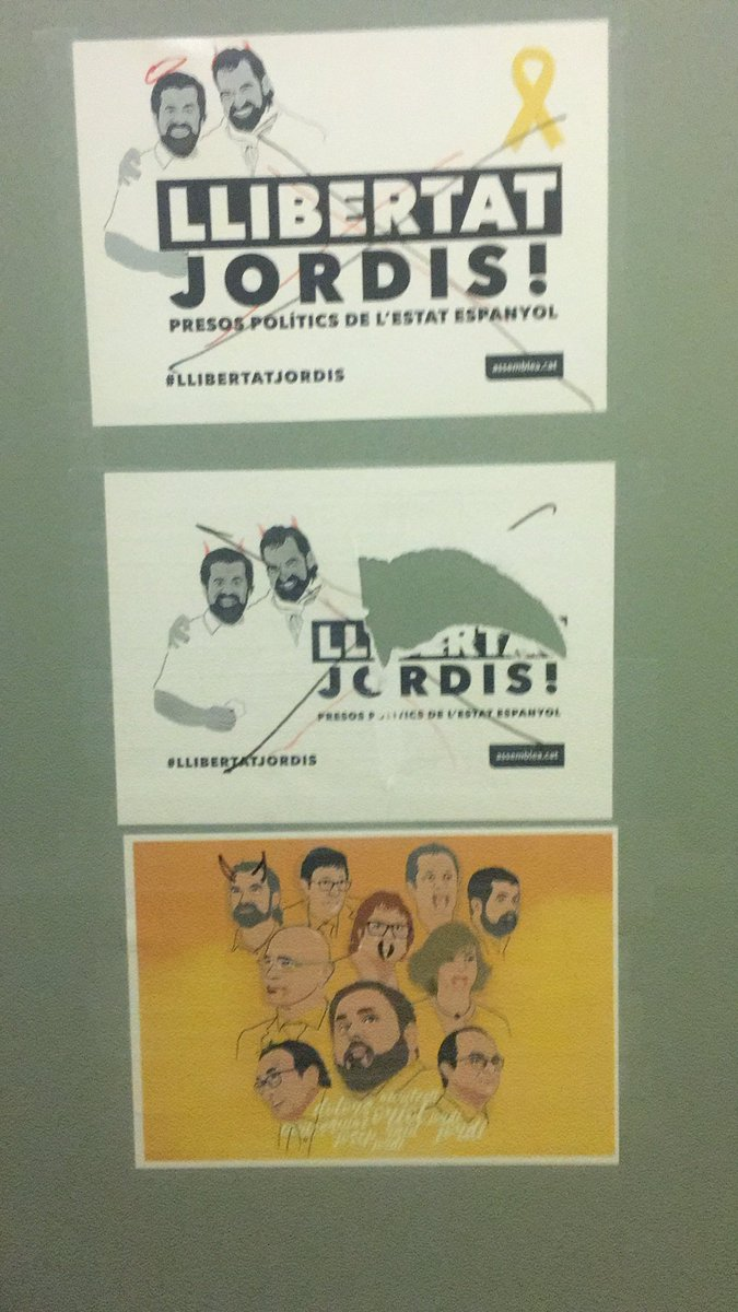 Posters on office door of ERC MP in Spanish parliament defaced