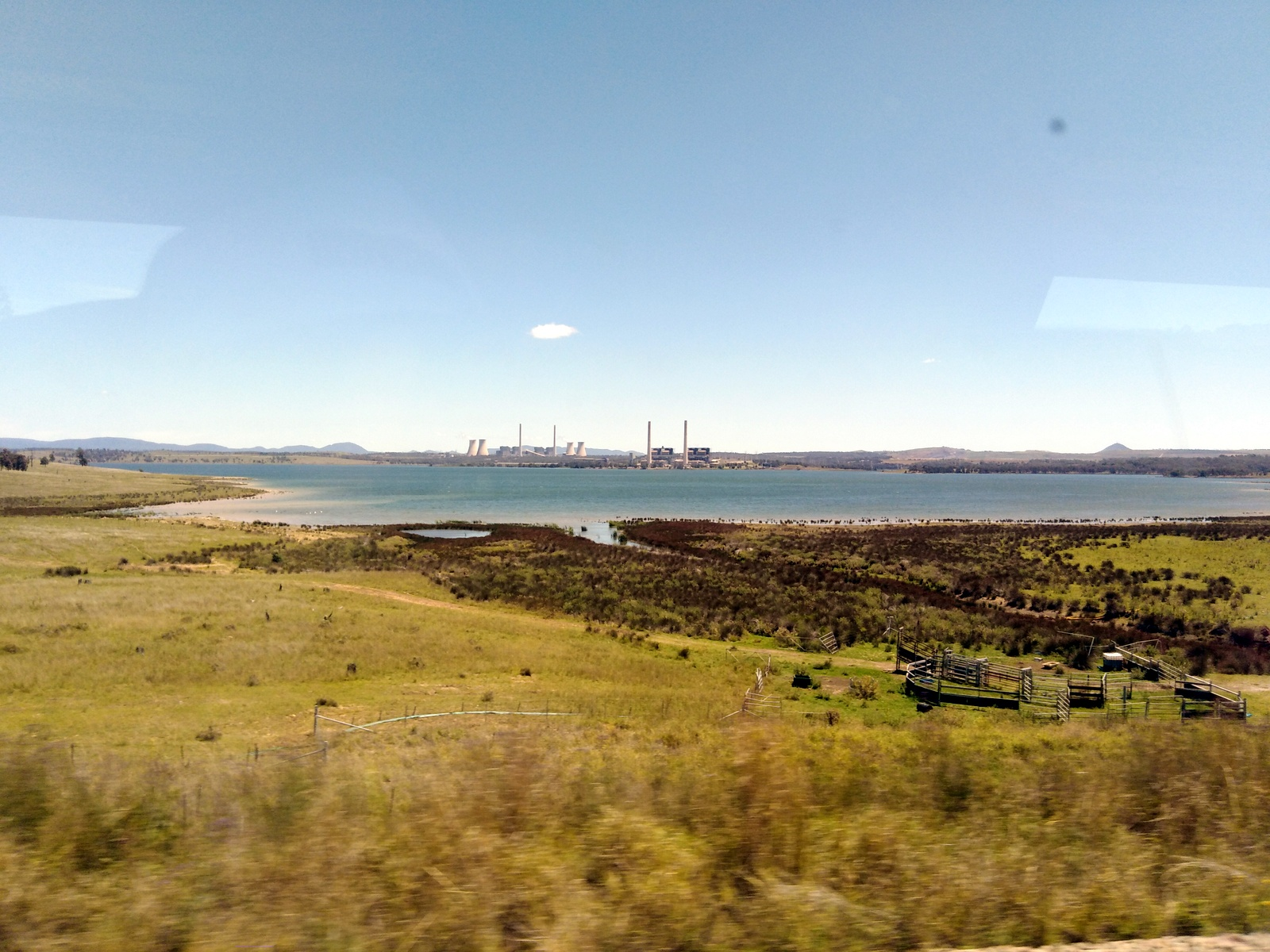 Liddell Power station seen from train line