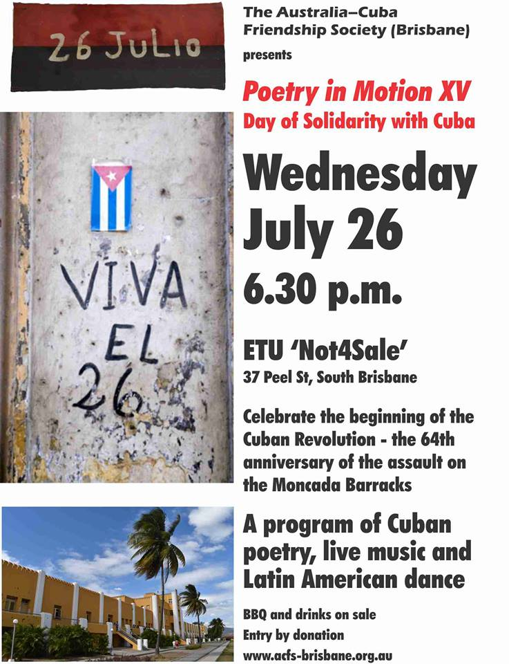 Poetry in motion: Cuban solidarity on July 26   Green Left Weekly