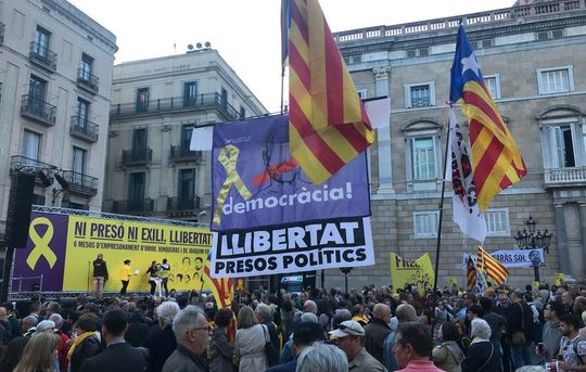 May 2 rally in support of Catalan political prisoners, St James Square, Barcelona