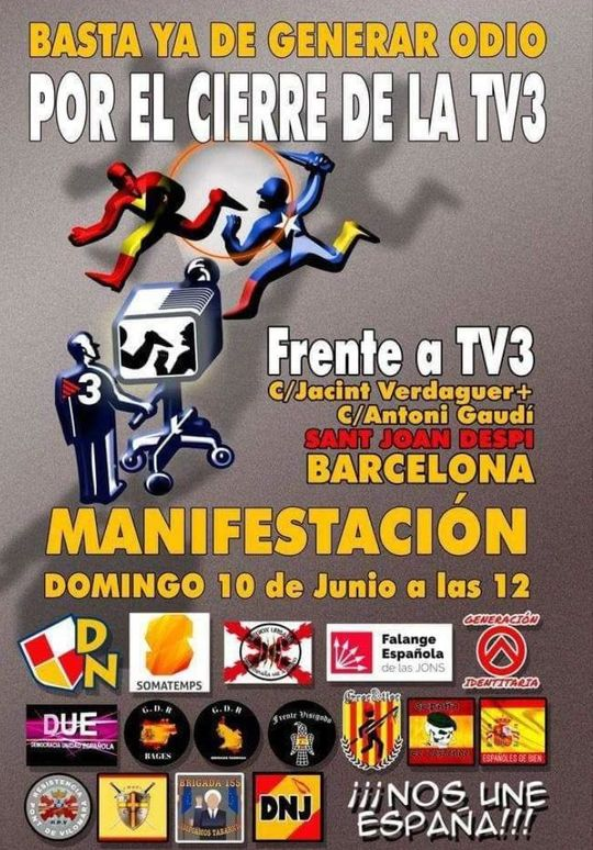 Poster for far-right demonstration against Channel 3