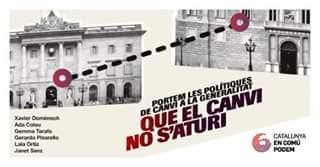Poster for Catalunya en Comú-Podemos (CatECP) election meeting
