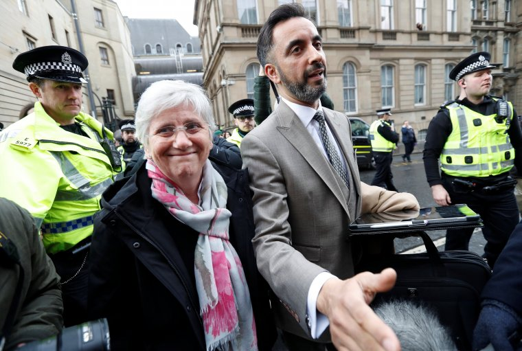 Aamer Anwar with client Clara Ponsati outside Edinburgh court