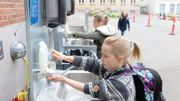 Danish schools have regular hand-washing times set during the day (Credit: BBC)