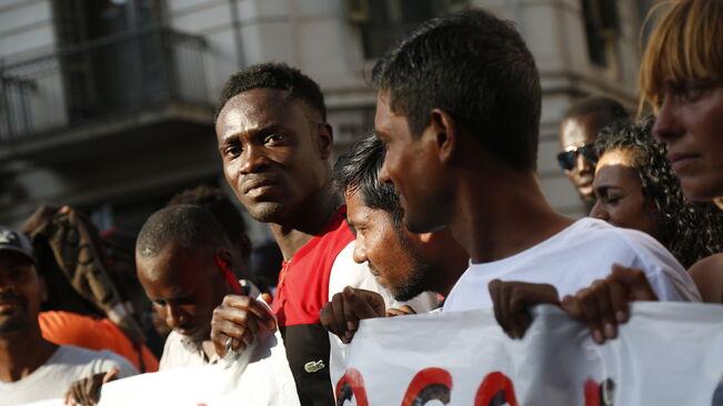 August 2 demonstration of Barcelona street sellers