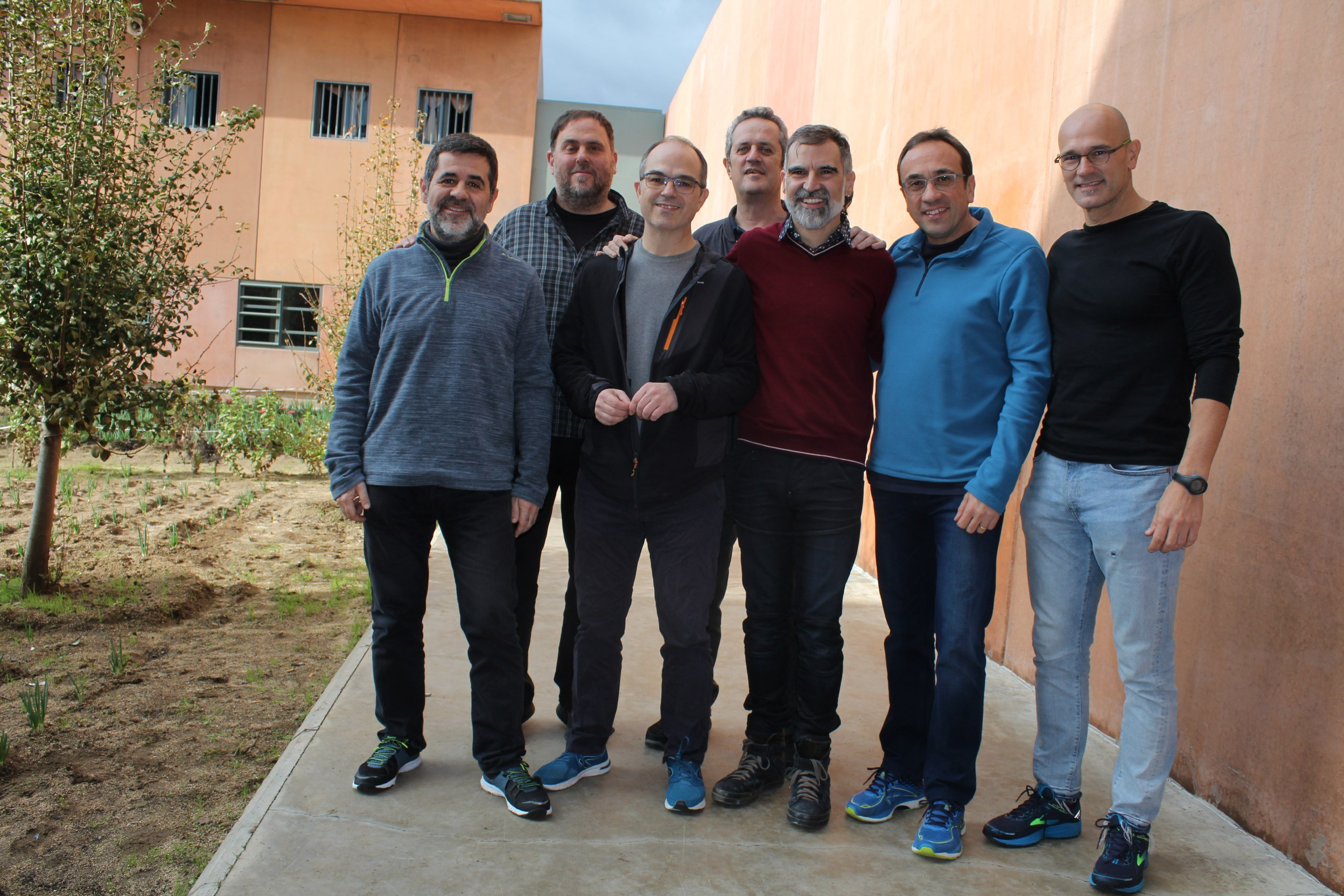 The men Catalan political prisoners, pictured in Lledoners jail
