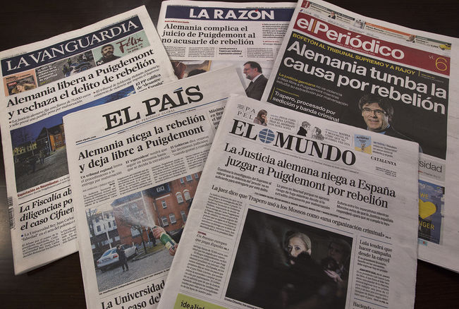 Spanish dailies react to Puigdemont's release by German court
