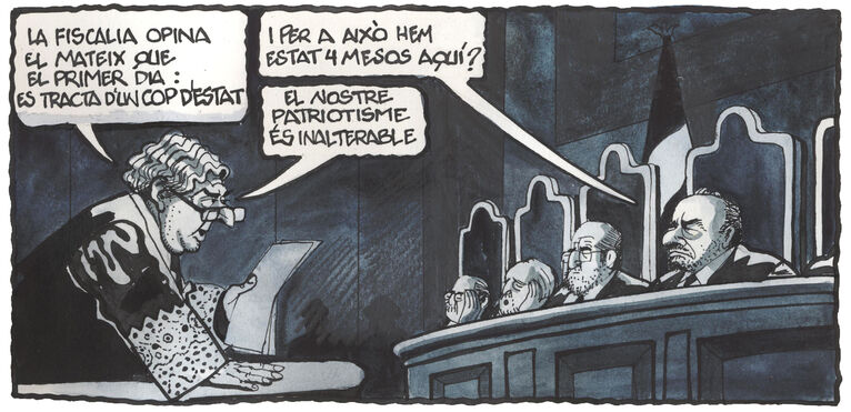 Zaragoza (chief prosecutor): 'The prosecution believes what it said on the first day--it was a coup d'etat' Chief judge Marchena: 'And we've been here for four months for that?' Zaragoza: 'Our patriotism is unalterable.'