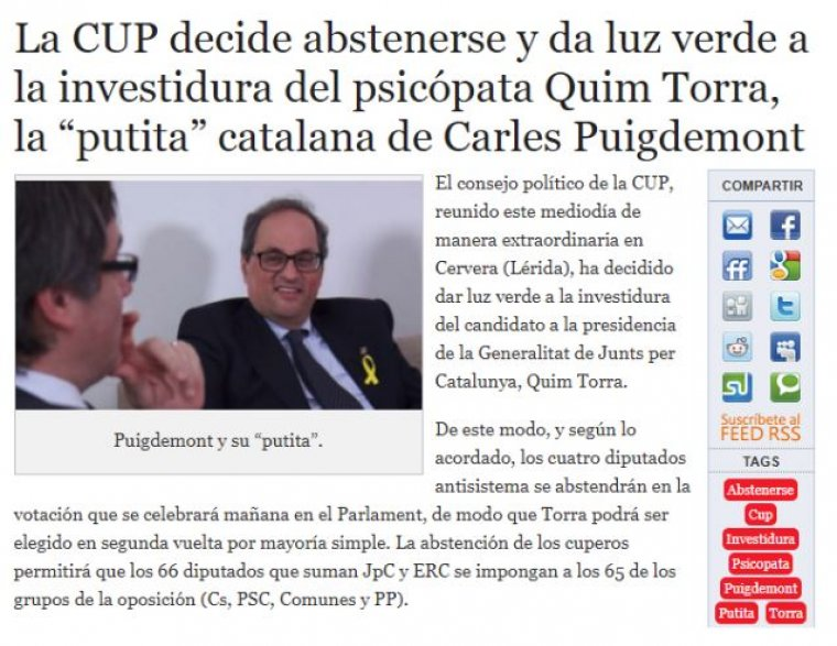 'Puigdemont's little whore': Alerta Digital on investiture of Quim Torra