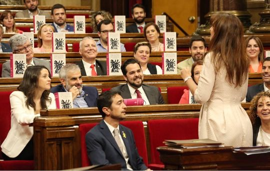 Catalan culture minister Laura Borras asks the Citizens MPs holding up copies of Don Quixote if they have read it