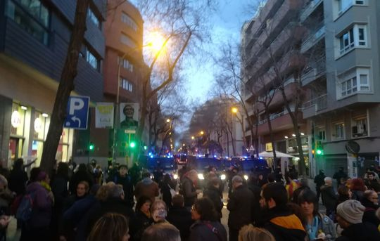 March 15 demonstration outside Civil Guard HQ, Gràcia