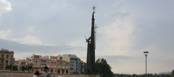 Francoist monument in Ebro River, at Tortosa