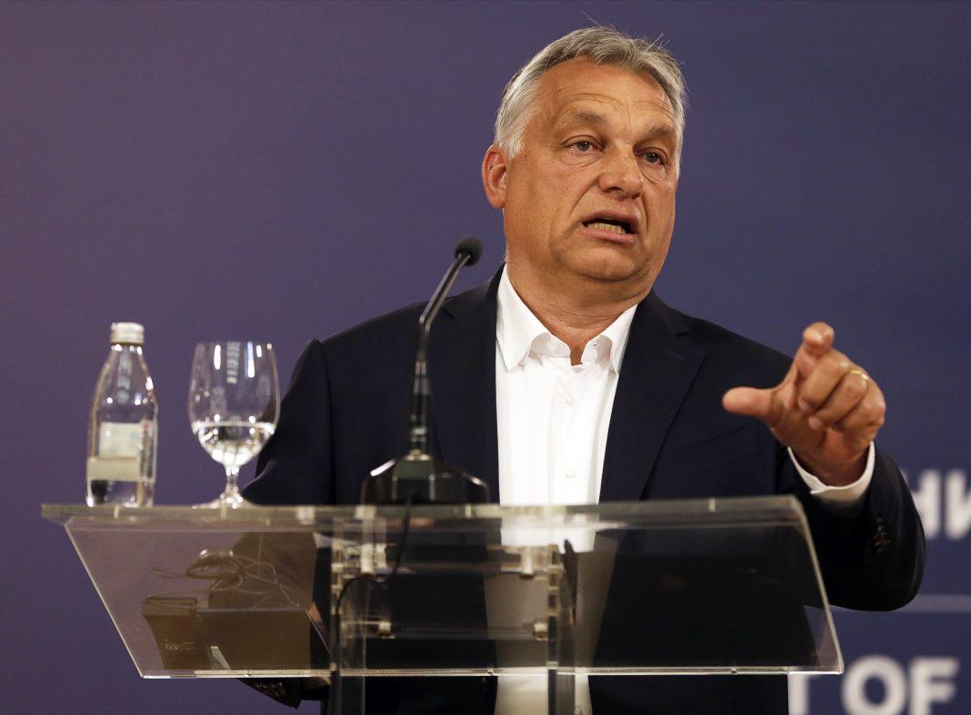 Orban speaks during a press conference in Belgrade (Credit: EPA-EFE | Andrej Cukcic)