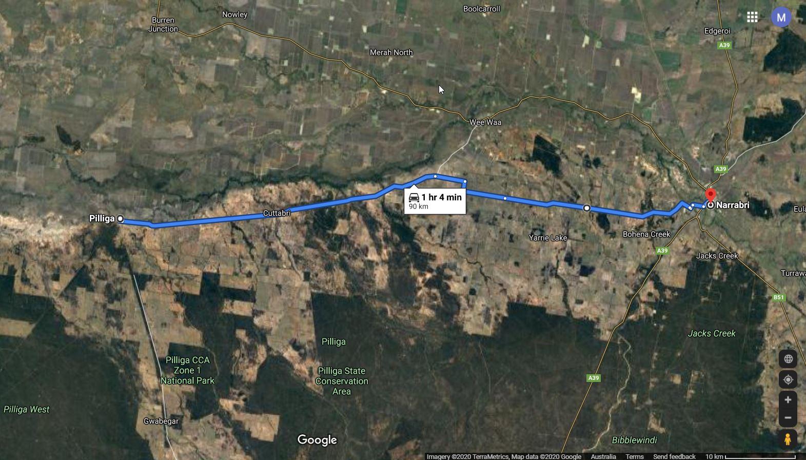 Pilliga to Narrabri via Yarrie Lake map