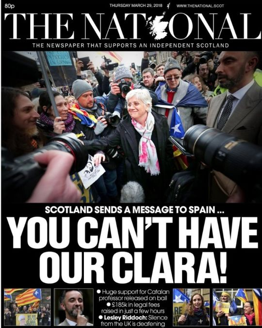 Front cover, The National, March 29, supporting Clara Ponsatí