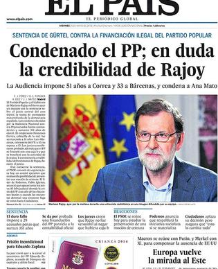 25-05-18 El País, front page