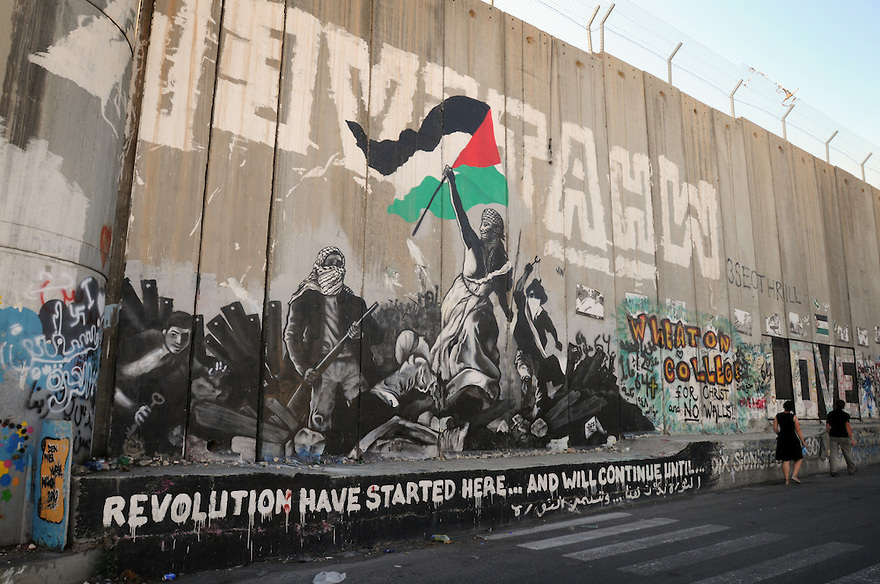Apartheid Wall Graffiti Palestinian Liberty Leading