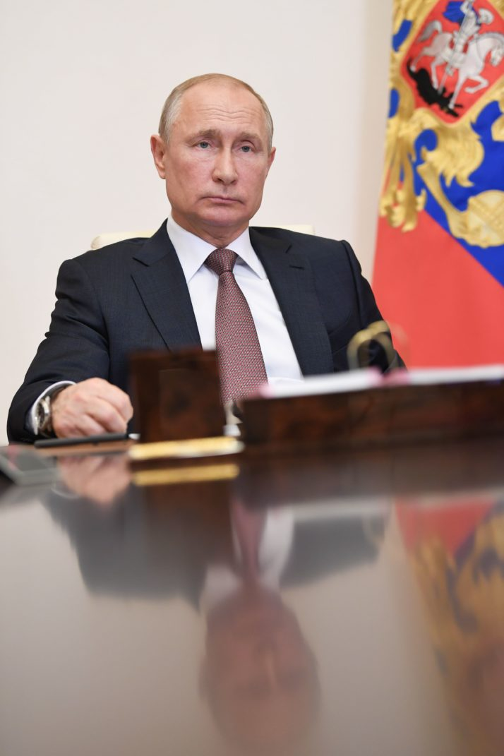 Russian President Vladimir Putin attends a videoconference meeting on the opening of multifunctional medical centers in several Russian regions (Credit: Alexey Nikolsky | AFP via Getty images)