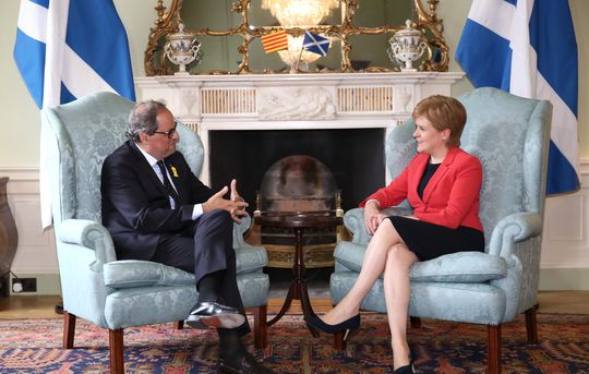 Quim Torra and Nicola Sturgeon meet in Edinburgh, July 11