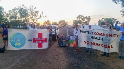 Health workers blockade Adani's coal mine in Queensland on November 13.