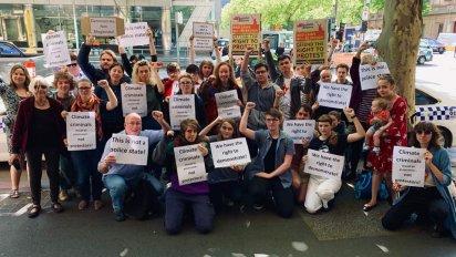 Blockade IMARC activists outside Melbourne's Magistrates Court on Nov 18.
