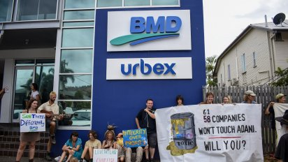 A protest at the Townsville office of Adani contractor BMD on November 1.