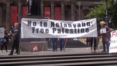 Melbourne protest against visit of Israeli Prime Minister, Benjamin Netanyahu.