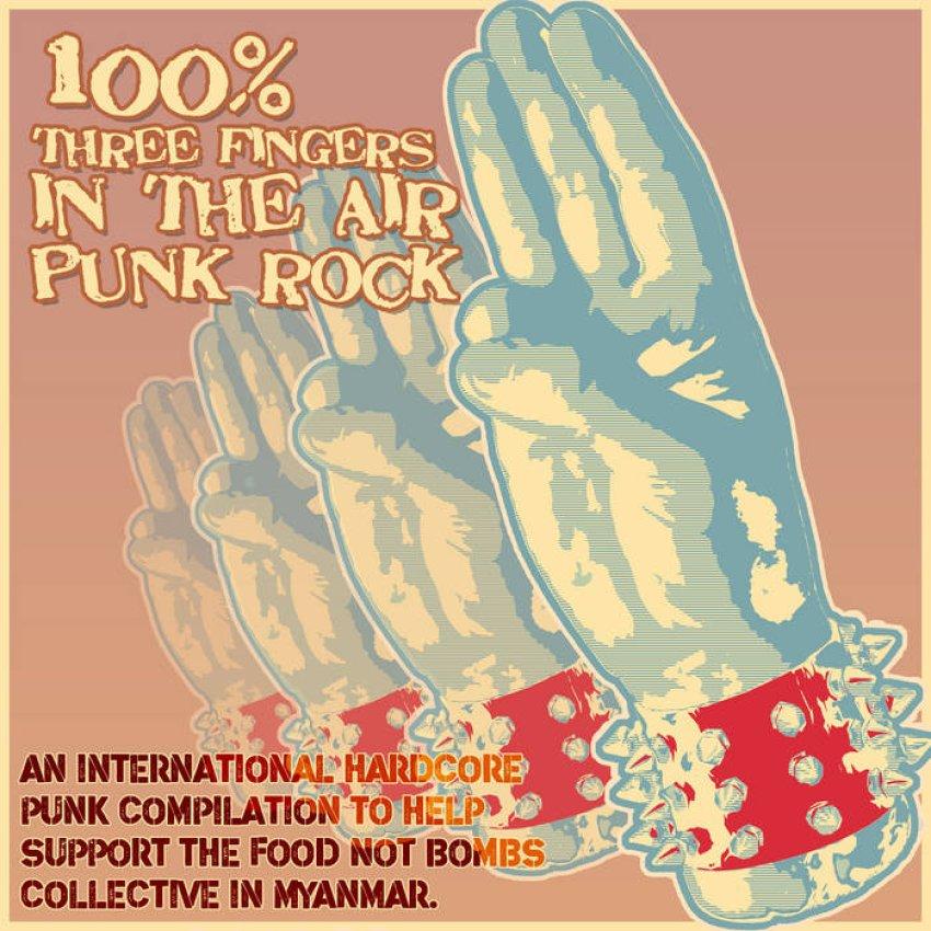 VARIOUS ARTISTS — 100% THREE FINGERS IN THE AIR PUNK ROCK ALBUM ARTWORK