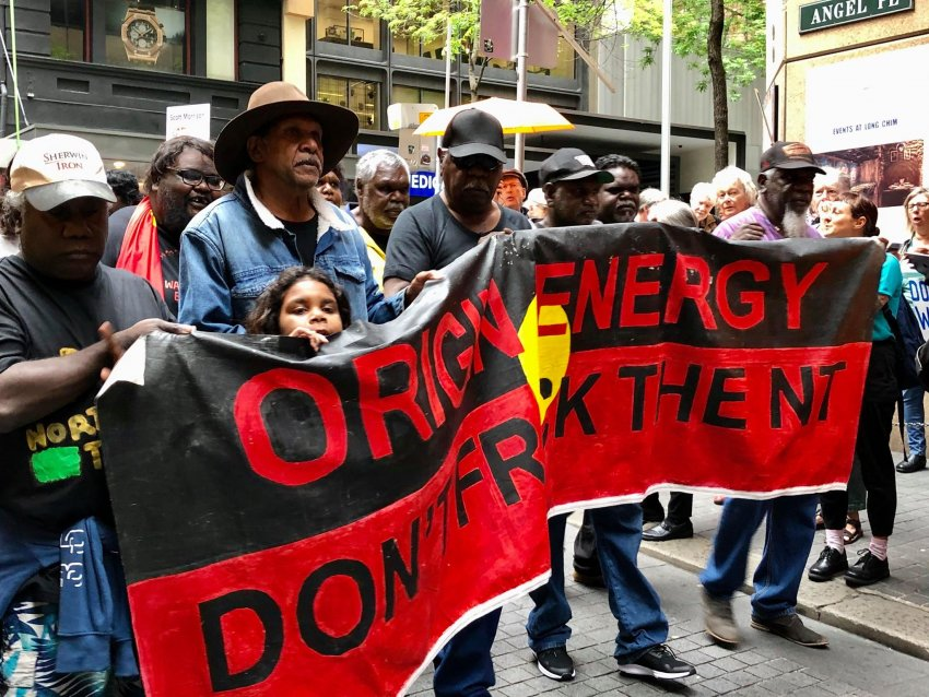 A protest by NT Traditional Owners outside Origin Energy's AGM