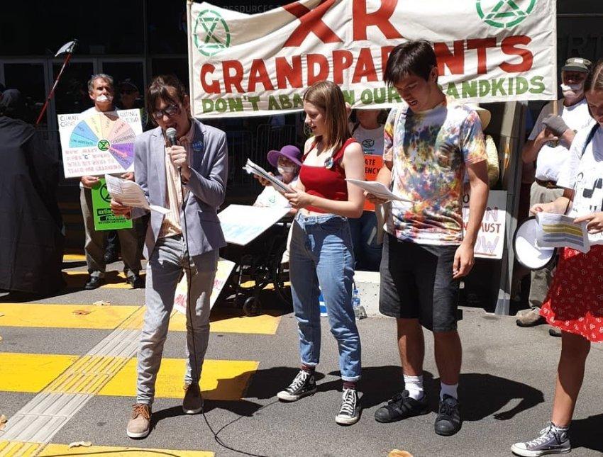 School Strike 4 Climate WA activists speak at Blockade RTS in Perth on November 27.