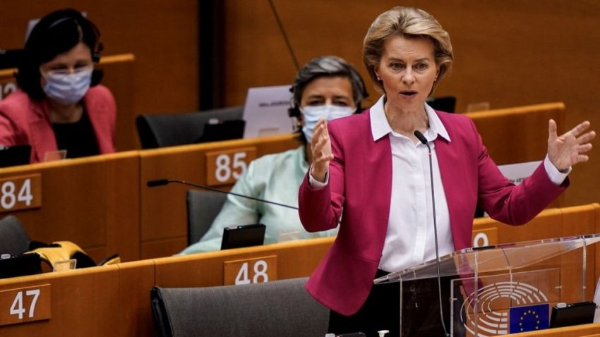 European Commission president Ursula van der Leyen presents €750 billion COVID-19 recovery proposal to European Parliament (Credit: AFP)