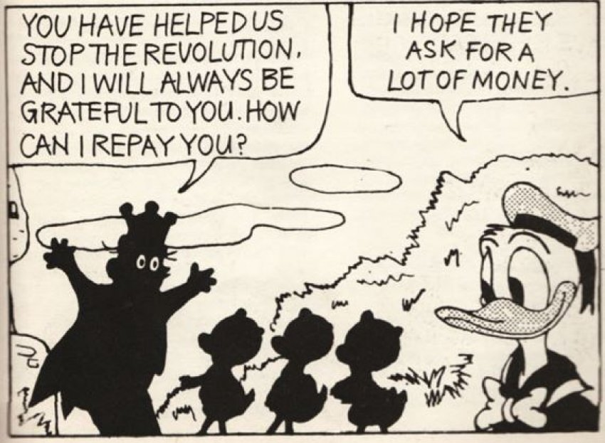 Donald Duck helping stop a revolution