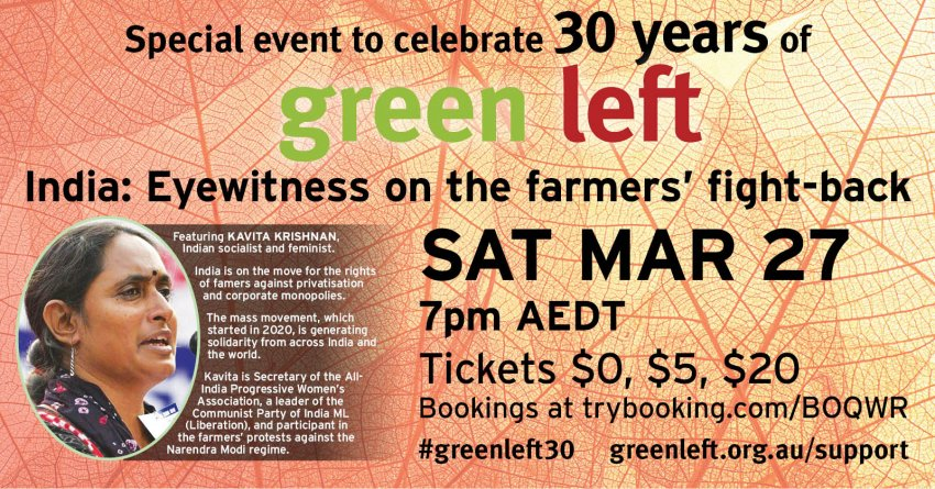 Green Left 30th anniversary event March 27 2021