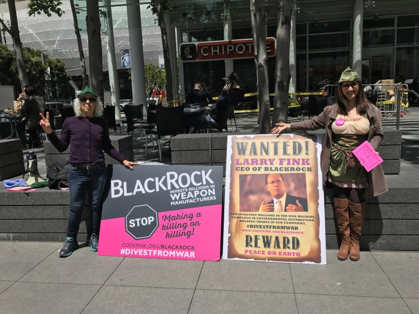 A protest against BlackRock in San Francisco on May 23.