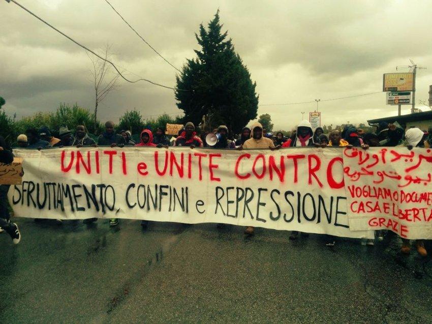 "'Illegal' migrants protest in Regio Calabria: ""Men and women united against exploitation, lockdown and repression"" (Credit: Facebook)"