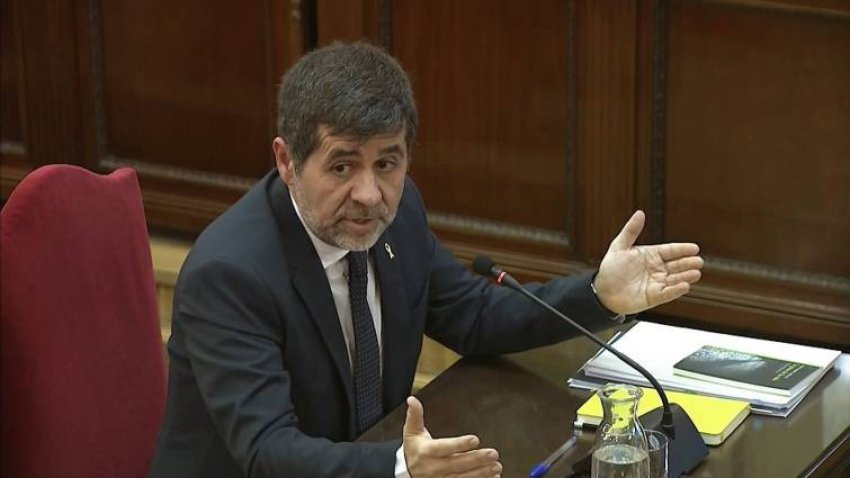 Jordi Sànchez, former ANC president and lead candidate for Together for Catalonia (JxCat) at the April 28 general elections, giving evidence