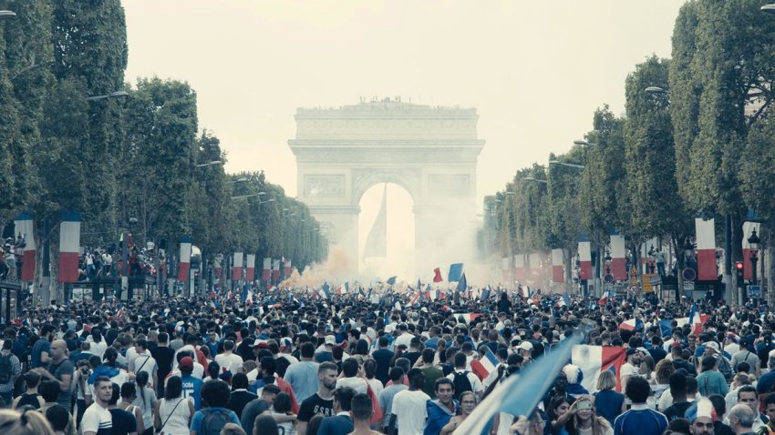French World Cup victory celebrations ironically opening Les Miserables, which shows the oppression