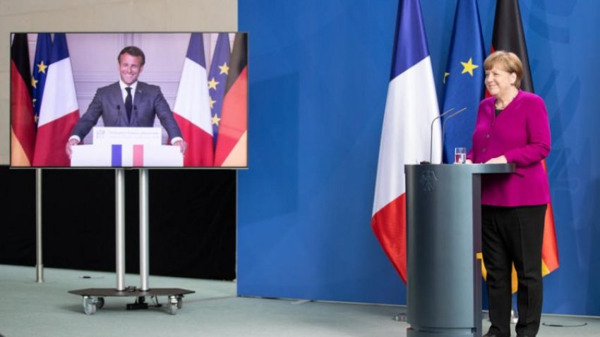 Macron and Merkel announce the French-German €500 billion COVID-19 recovery fund (Credit: EPA-EFE | Andreas Gora/Pool)
