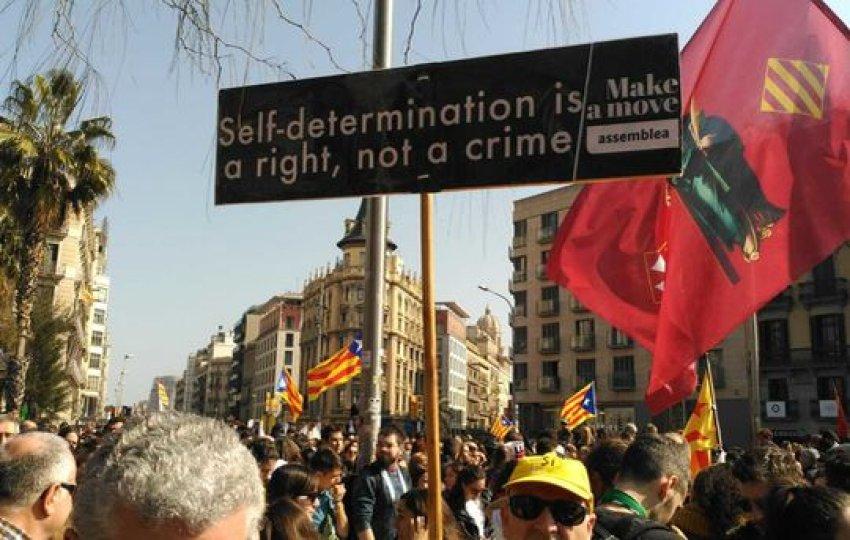 Demonstrators occupy Barcelona's Gran Via (Broadway)