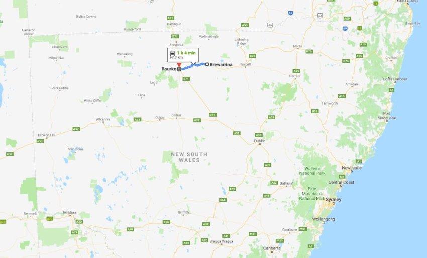 Brewarrina to Bourke map