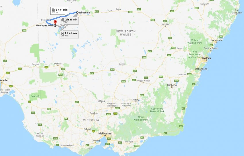 Wilcannia to Broken Hill to Lake Menindee Map