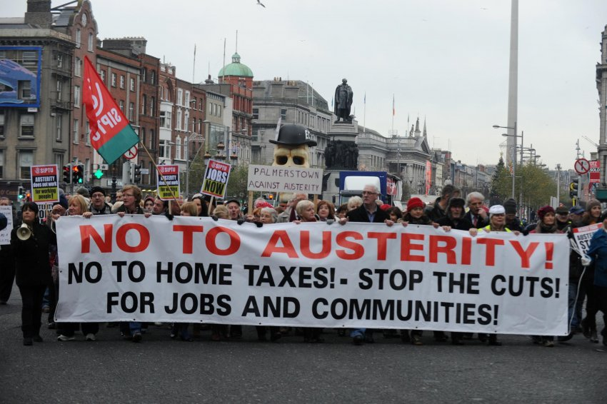 November 2012 march in Dublin against the post-financial crisis austerity (Credit: AFP Photo | Barry Cronin)