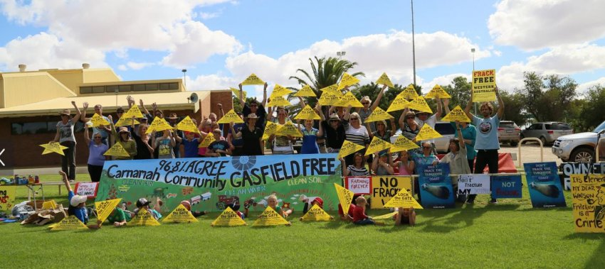 A protest against fracking in Carnamah, WA, last year.