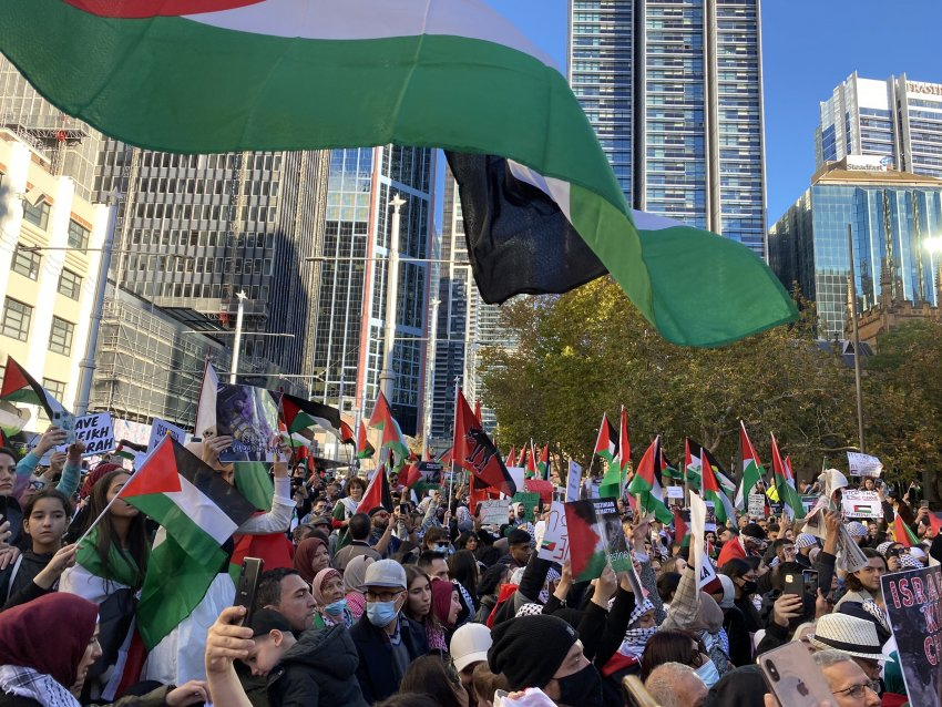 Palestinian flags flying in Sydney