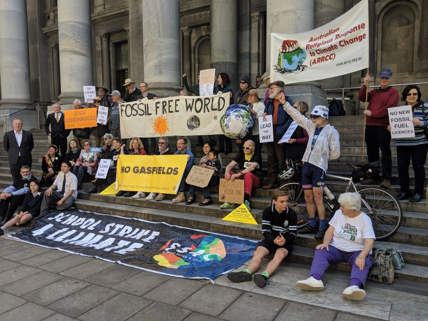 A protest for a ban on new fossil fuel projects, SA parliament, October 19