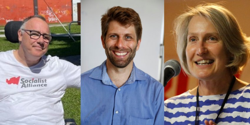 Socialist Alliance councillors Rob Pyne, Sam Wainwright and Sue Bolton