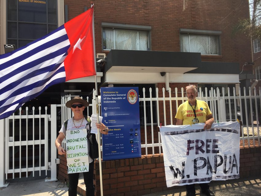 A vigil for West Papua outside the Indonesian consulate in Sydney.