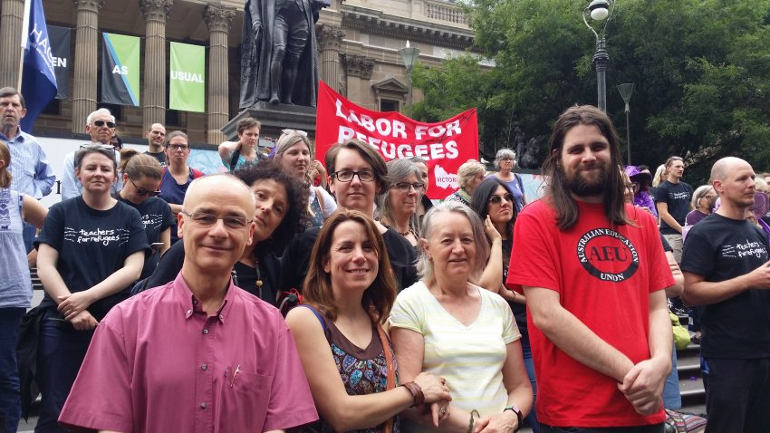 Mary Merkenich together with colleagues from Highvale Secondary College at the Teachers for Refugees protest in Melbourne on November 20.
