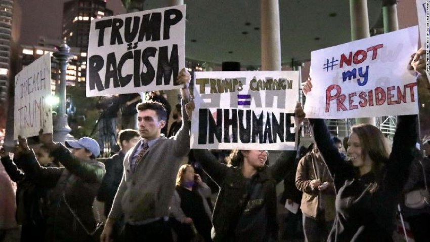 Protesters on the streets after Trump's win.